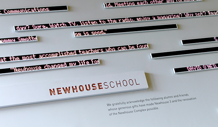 S.I. Newhouse School of Public Communications digital wall detail