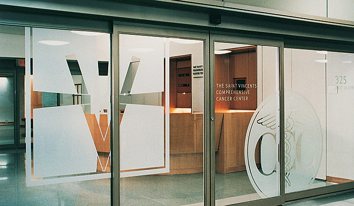 The Saint Vincents Comprehensive Cancer Center lobby entrance