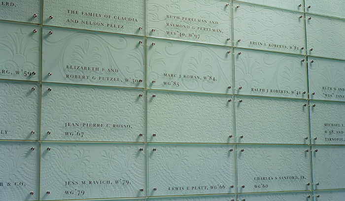 Wharton School of Business donor wall detail