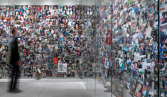 World Trade Center wall of photographs