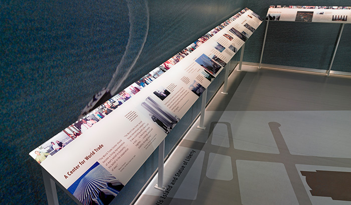 World Trade Center exhibition reader rail
